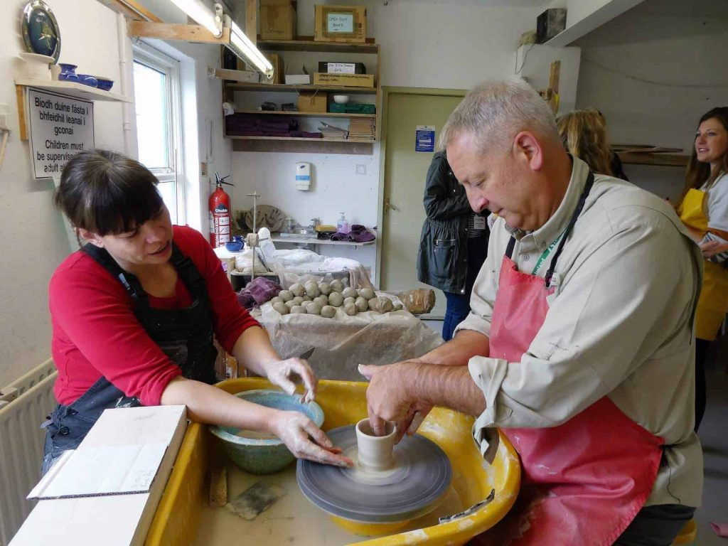 Keith making pottery at Louis Mulcahy Pottery