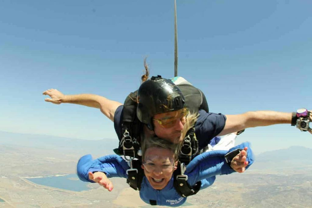 Tina skydiving