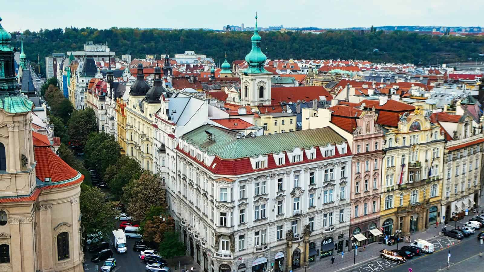 Arial view of Prague