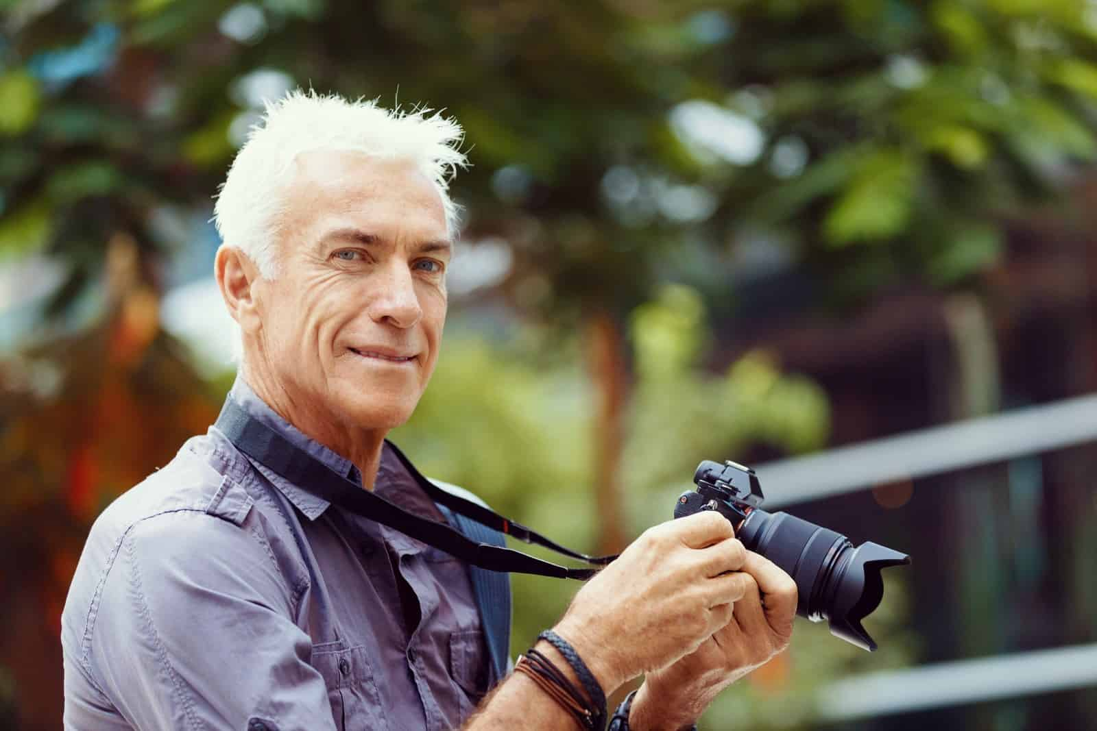 Retirement savings senior with camera